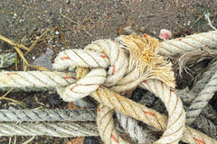 Anchor rope, twine for tying - on the ground. Stock Image