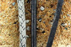 Anchor rope, twine for tying - on the ground. Stock Photography
