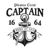 Anchor with rope vector pirate vintage emblem. Anchor with rope, ribbon and text captain vector pirate emblem in monochrome vintage style isolated on white vector illustration
