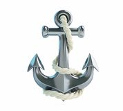 Anchor and rope. On a white background Stock Photo