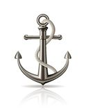 Anchor with rope on white background. Stock Photos