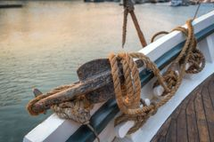 Anchor and Rope of 101 Year Old Sailboat. Historic wooden schooner royalty free stock photography