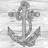 Anchor and rope in the zentangle style. Royalty Free Stock Photos