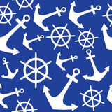 Anchor and rudder. Seamless pattern, background Royalty Free Stock Images