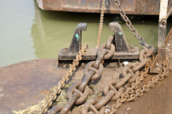Anchor rusty chain in asia port Stock Images