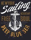 Anchor sailing academy T shirt vector design. Fashion style vector illustration