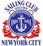 Anchor sailing academy T shirt vector design. Fashion style royalty free illustration