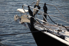 Anchor on a sailing yacht. Modern sailing yacht at the pier, the fragment Royalty Free Stock Photos