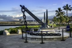 The anchor salvaged from the the USS Arizona is on display at the Pearl Harbor Royalty Free Stock Photos