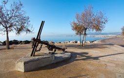 Anchor sculpture in Molinar Stock Image