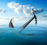 Anchor in the sea Royalty Free Stock Image
