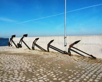 Anchor in sea pier Royalty Free Stock Images