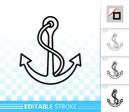 Anchor sea simple black line nautical vector icon vector illustration