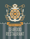 Anchor and seafood restaurant. Banner with ship anchor and seafood restaurant with fish and cutlery Royalty Free Stock Images