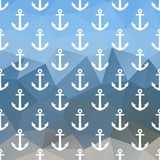 Anchor seamless pattern on abstract polygonal background. Stock Images