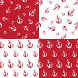Anchor seamless pattern red Stock Image
