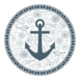 Anchor and seashells. Vector illustration with anchor and seashells can be used for graphic design, textile design or web design. And as for printing on T-shirts Royalty Free Stock Images