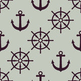 Anchor and ship wheel Nautical texture Stock Photo
