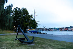 Anchor on Skeppsholmen Bridge. Stockholm. Sweden. 03.08.2016. Skeppsholmen bridge laid across the Strait of Riddarfjärden and connects the two islands in royalty free stock photos