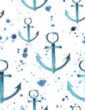 Anchor spray pattern watercolor hand sketch. Bright cute marine anchor spray pattern watercolor hand sketch Royalty Free Stock Images
