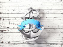 Anchor. Steel anchor  on a wooden background Royalty Free Stock Image