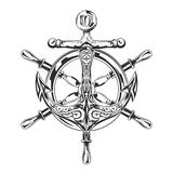 Anchor and steering wheel. Black and white illustration Stock Image