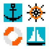 Anchor steering wheel lifebelt ring and ship pixel art Stock Images