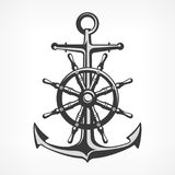 Anchor with steering wheel. Nautical symbols on white, marine. Vector illustration Stock Photos