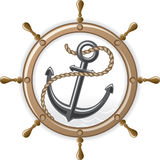Anchor and steering wheel Royalty Free Stock Images