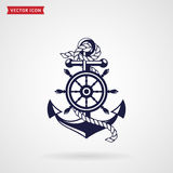 Anchor and steering wheel. Vector design element. Anchor with a rope and a steering wheel. Icon isolated on white background. Sea travel and nautical themes Stock Photos