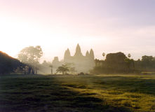 Anchor Sunrise. Sunrise over anchor wat in cambodia, some noise present Royalty Free Stock Photography