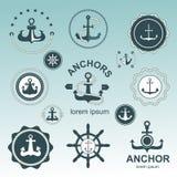 Anchor symbols  set. Royalty Free Stock Photos