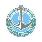 Anchor time circle emblem Royalty Free Stock Photos