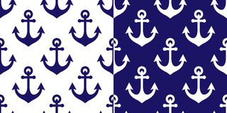 Anchor vector seamless pattern, marine navy blue repetitive background, coastal wallpaper or textile design Royalty Free Stock Photo
