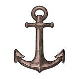 Anchor. Vector vintage color engraving illustration isolated on white background. Royalty Free Stock Photos