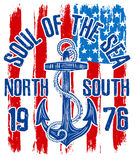 Anchor vintage design with american flag. Fashion style Stock Images