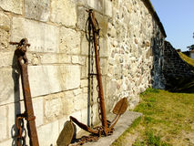 Anchor by the Wall. Anchor inside the Castle of Tallinn City in Estonia Royalty Free Stock Image