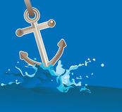 Anchor in water. Vector illustration Royalty Free Stock Photos