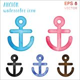 Anchor watercolor icon set. Actual hand drawn style symbol. Cute watercolor symbol. Modern design for infographics or presentation stock illustration