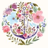 Anchor in watercolor technique. Hand drawn adorable anchor in watercolor technique in floral background Royalty Free Stock Photos