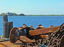Anchor on the waters edge. Old rusted ship anchor Galveston Texas on the waters edge Stock Photo