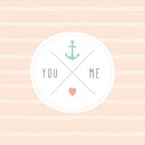 Anchor wedding invitation template. Vector EPS 10 hand drrawn illustration Stock Photos
