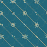 Anchor, wheel and chain. Seamless marine  pattern. Stock Photography