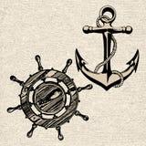 Anchor wheel illustration vector art Royalty Free Stock Photos