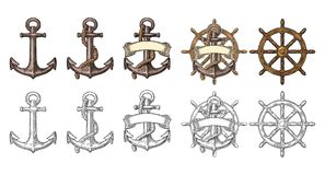 Anchor and wheel with ribbon isolated on beige background. Anchor and sheep wheel with ribbon isolated on white background. Vector color and black vintage Royalty Free Stock Photos