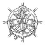 Anchor and wheel with ribbon isolated on white background. Vector vintage engraving illustration with title MARINE. Royalty Free Stock Photography