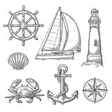 Anchor, wheel, sailing ship, compass rose, shell, crab, lighthouse engraving. Set sea adventure. Anchor, wheel, sailing ship, compass rose, shell, crab stock illustration