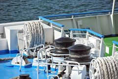 Anchor winch with chain Stock Photography