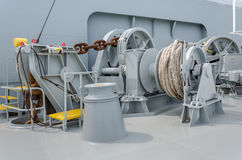 Anchor winch. On a  forward of the vessel Stock Photography