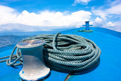 Anchor winch. The anchor rope and winch Stock Image
